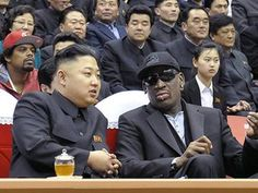 North Korea's official news agency releases this picture in 1 March 2013, showing North Korean leader Kim Jong-un chatting with Dennis Rodman at a basketball game in Pyongyang.