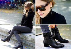 Uniqlo Turtleneck, Topshop Jeans, Alexander Wang Boots, CÉline Sunglasses, Line & Jo Earring