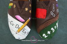 Custom Painted TOMS Shoes School Teacher Supplies Design for Adults by ibleedheART on Etsy https://www.etsy.com/listing/202353112/custom-painted-toms-shoes-school-teacher