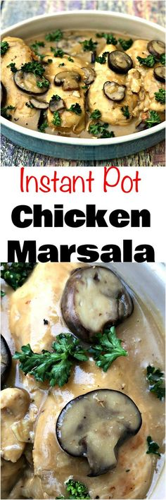 collage of 2 photos of instant pot chicken marsala on a multi colored surface #lowcarbchickenmushroom