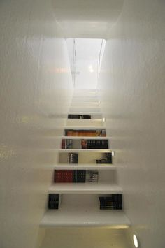 ooh this is great for unfinished basement stairs (book-staircase). I love the idea of book shelves in between the stairs. This would be especially helpful for a small home and a book lover that needed more shelves. Book Staircase, Bookcase Stairs, House Stairs, Basement Stairs, Stair Shelves, Stair Storage, Staircase Storage, Bookcases, Alcove Bookshelves