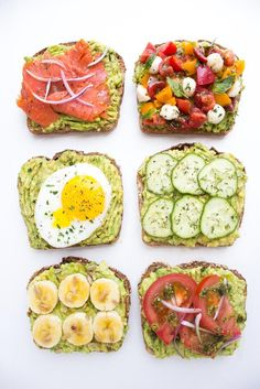 Easy and quick ways to top an avocado toast all with fresh ingredients for breakfast, lunch, or dinner! #snack #avocado #toast