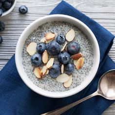 Switch up your morning oatmeal routine with this so-easy chia pudding recipe. It's made just like overnight oats—combine chia and your milk of choice, let soak overnight, then top with juicy blueberries and crunchy almonds and dig in! #mealprepchallenge #healthymealprep #mealprep #recipe #eatingwell #healthy