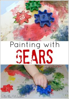 with Gears is a fun way for toddlers and preschoolers to explore painting without brushes and printmaking!Painting with Gears is a fun way for toddlers and preschoolers to explore painting without brushes and printmaking! Preschool Art, Toddler Preschool, Toddler Crafts, Preschool Activities, Crafts For Kids, Easel Activities, Motor Activities, Transportation Activities, Construction Crafts