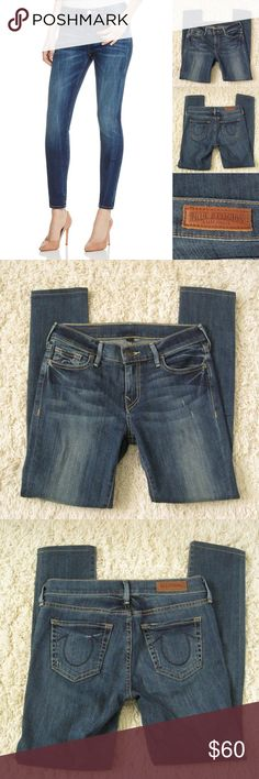 "True Religion Halle Super Skinny Jeans Authentic TRUE RELIGION W46A698JD4 Halle Super Skinny Denim Jeans. Size 26. Excellent condition! Worn 2-3 times. Features minor distressing/zip fly button closure/5-pocket silhouette/belt loop/mid-rise      Materials:  90% Cotton, 6% Elasterell/4% Elastane Actual Measurements (laying flat): • Waist - 28.5"" around (actual) • Hips - 16.5"" • Front Rise - 8.25"" • Back Rise - 12""  • Inseam - 27""  • Length - 35""  • Leg Cuff - 5.5"" ~❌SWAP❌TRADE…"