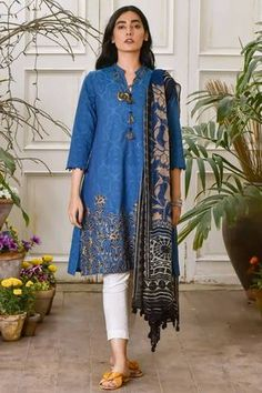 Khaadi Embroidered 2 Piece Lawn Collection Vol-2 Custom Stitched Suit - Blue - YY18201