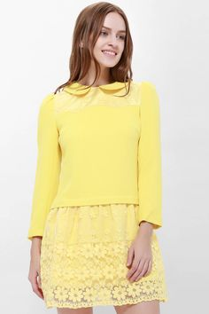 29daa95a2d5 Sweet Peter Pan Collar Solid Color Lace Embellished Yellow Long Sleeve Lace  Dress For Women