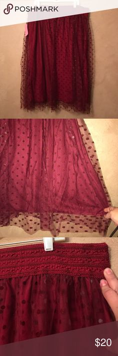Maroon Polka Dot Tulle Skirt Very comfortable tulle skirt.  I'm too short for it though. Size 3X but a loose 3X.  Again, my loss is your gain!! Skirts A-Line or Full