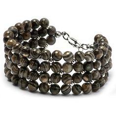 Beaded Brown Bracelet Gemstone Bracelet Rhodium Plated by MYNESS