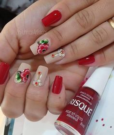 Gorgeous 50 French Nails with Flowers 2018 Red Nail Designs, Acrylic Nail Designs, Acrylic Nails, Mexican Nails, Nail Pops, Flower Nail Art, Us Nails, Bling Nails, Stylish Nails