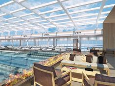 An artist's drawing of the main pool area of the Viking Star, which will have a retractable glass roof.