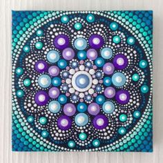 Miniature Meditation Dotart Mandala Painting, Canvas size 8x8cm by Mandala Art