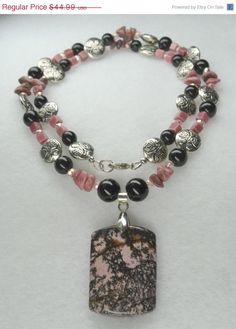 BIG SALE Gemstone Necklace, Rhodonite Gemstone Necklace and Black Onyx  Gemstone, Rhodonite Rectangular Pendant,  Pink and Black, Matching E on Etsy, $26.99