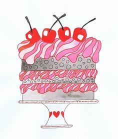 Cake - watercolour, ink