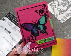 Nicole Wilson Independent Stampin' Up!® Demonstrator -Social Stamping Change... using Butterfly Beauty and Itty Bitty Birthdays #ittybittybirthdays #butterfly #butterflies #butterflybeauty #butterflybirthday #happybirthday #kalidescope #rainbow #glimmerpaper #nicolewilson #stampinup #socialstamping #mypapercraftjourney Birthday Cards, Happy Birthday, Embossing Machine, Butterfly Birthday, Crossed Fingers, School Holidays, Pretty Cards, Really Cool Stuff, Stampin Up