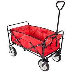 Yaheetech Multicolor Collapsible Folding Utility Wagon Garden Cart Shopping Red * To view further for this item, visit the image link.