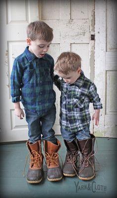 Boys flannel shirts: Yarn & Cloth Clothiers Bath, ME. Boots: L.L.Bean