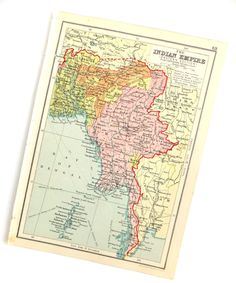 Indian Empire Map 1930's Map of the Indian by PeonyandThistlePaper
