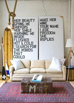 love the idea of a large screen with words... great idea for the living room.