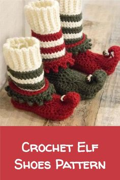 This festive crochet elf shoes pattern comes in 11 sizes! Family members from baby to adult can enjoy a pair of these cute little boots! #crochet #paidpattern #crochetholiday #handmadeholiday #elf Diy Craft Projects, Crochet Projects, Knit Crochet, Crochet Hats, Elf Shoes, Christmas Crochet Patterns, Shoe Pattern, Crafts For Kids To Make, Crochet For Beginners