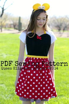 Adult/ Teen MINNIE MOUSE Pdf Sewing PATTERN. Disney inspired Costume Apron for Girls sizes 9-12 and Women 0-12. Disneyland Dress up Party