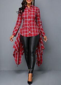 Rosewe Women Shirt Red Plaid Button Up Long Sleeve Button Front Plaid Print Asymmetric Hem Shirt Casual Outfits, Cute Outfits, Fashion Outfits, Womens Fashion, Girl Outfits, Trendy Tops For Women, Blouses For Women, Valentines Outfits, Mode Chic