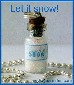 A Bottle of Snow Mini Bottle Necklace by CharmthisClayCharms, $6.00