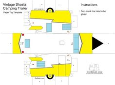 A colored vintage Shasta Trailer Paper toy template. The boys had lots of fun with this one as well. Paper Toys, Paper Crafts, Mini Caravan, Mini Camper, Shasta Trailer, Origami, Vintage Travel Trailers, Vintage Campers, Paper Houses