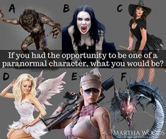 Which one would you be?  #marthawoods #pnr #parnormal #paranormalcharacter #whichone #whichonewouldyoube #choices
