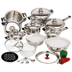 28-Piece 12-Element Stainless Steel Waterless Cookware Set * Read more reviews of the product by visiting the link on the image.