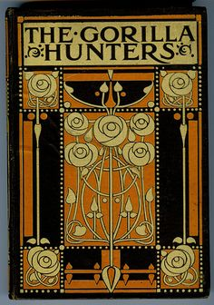 Art Nouveau designed book cover by Ethel Larcombe.    The Gorilla Hunters by Scottish novelist  Robert Michael Ballantyne.