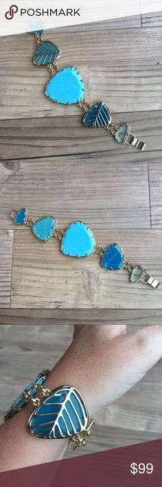 """2-Hour Sale⏱Kendra Scott Turquoise Bracelet Kendra Scott turquoise and gold plated bracelet. See photos for measurements approx 8"""" - clasp closure. Multiple shades of blue stones. No bag or box. Previously sold the necklace. Kendra Scott Jewelry Bracelets"""