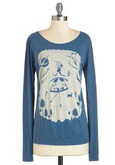 Winter Wanderer Tee - Blue, Long Sleeve, Mid-length, Blue, Tan / Cream, Casual, Long Sleeve, Winter, Novelty Print, Scoop, Cotton, Knit