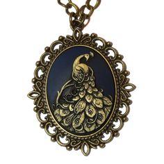 Victorian style Pendant Dark Blue Peacock Cameo