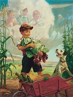 Illustration House, Inc - Boy and Dog Harvesting Vegetables