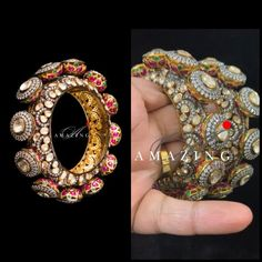 A mesmerizing journey about standard of perfection with Royalty and Luxury!!!!! These grandeur Jadau Bangles poised to compliment elegant and classy wear, immersed in the beauty of Mozonite Polki with Sparkling Hydro Ruby and Emerald stones. The graceful and fascinating setting of Cubic Zirconium in Sterling Silver with Gold plating, showers elements of glam and class. This expensive, intriguing and highly crafted Jewellery, meticulously sculpted by Amazing Jewel to strike an epitome of luxe…