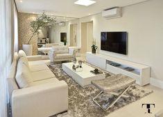 Sala do apto tons neutros por Renata Tolentino. Lindo! #apartamento #tonsneutros #achadosdedecoração