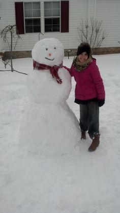 "Samantha Washington of Dayton says ""Wendy Earls of Dayton Feb.13th, 2014 Snowman made by her niece Adia"" #WHSVsnow"