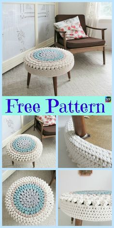 This crochet stool cover is such a simple yet efficient way to add some color and decoration to our home. It is quick and easy to crochet, the perfect for Stool Cover Crochet, Crochet Pouf, Crochet Cushions, Crochet Pillow, Diy Crochet, Crochet Crafts, Crochet Projects, Crochet Furniture, Stool Covers