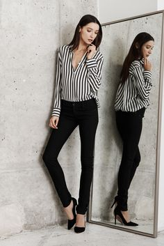 Loving our off-black and white striped blouse! Wear it to work and then out!