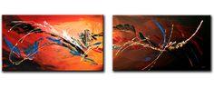 Schilderij Orange Jungle, tweeluik van Buttner - Kunstvoorjou.nl