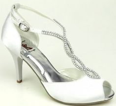 Satin Rhinestone T Strap Open Toe Pump Sandal Shoes Prom Wedding Kitten Heel Wht
