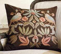 Aleta Embroidered Pillow Cover - traditional - pillows - Splendid Willow