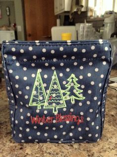 Whimsical Trees Icon on the Littles Carry-All Caddy in Navy Dancing Dots..so cute!