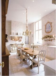 dining room in kitchen in Europe. dreamy. i could spend all day in here.