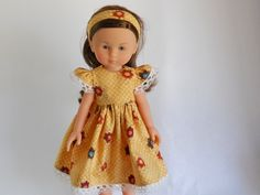 Designed to fit dolls like Les Cheries,13 inch doll clothes, Gold with Fall Flowers Dress, 08-0389 by thesewingshed on Etsy