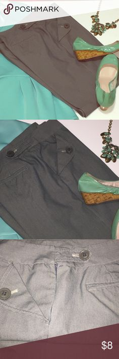 Chic slack pants Cute slack pants. Adorable fold over with buttons pockets. Please see pic 4, small space by zipper. I cant remember if this is how they supposed to be or if its a small defect, so selling these dirt cheap. Grace Elements Pants Trousers