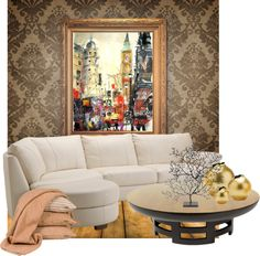 """Modern Vintage Apartment Living Room"" by melly650 on Polyvore"