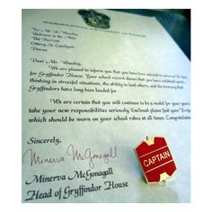 Quidditch Captain Letter with Captain Badge / Angelina Johnson