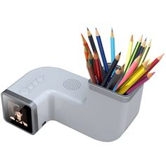 Pen and Pencil Holder With Built in 1.5 Inch Digital Photo Frame